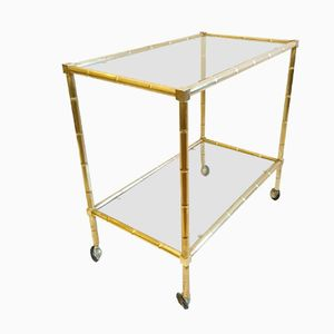 Vintage Faux Bamboo Brass Bart Cart