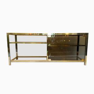 Vintage Italian Brass and Chrome Credenza