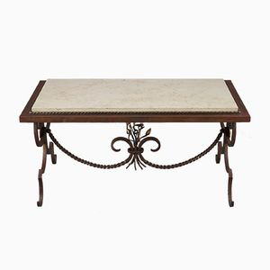 Gilded Wrought Iron & Marble Coffee Table, 1950s