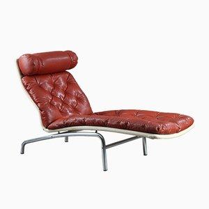 Chaise longue in pelle rossa con struttura cromata di Arne Vodder per Erik Jørgensen, anni '70
