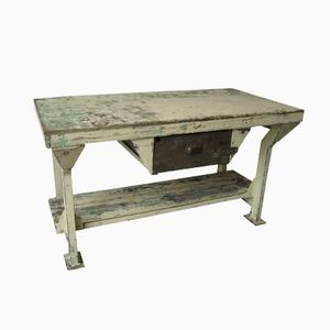 French Industrial Steel Workbench with Wooden Top, 1950s