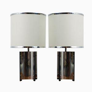 Italienische Verchromte Tischlampen von Gaetano Sciolari, 1960er, 2er Set