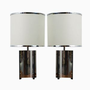 Lampes de Table Chromées de Gaetano Sciolari, Italie, 1960s, Set de 2