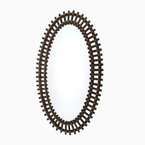 Oval Wicker Wall Mirror in the style of Franco Albini, 1970s