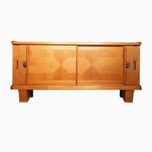 French Oak and Ceramic Credenza by Guillerme et Chambron for Votre Maison, 1950s