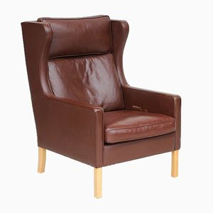 Vintage Danish Leather Wing Armchair from Stouby