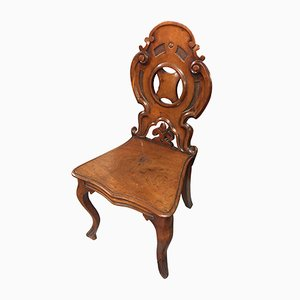 Antique English Victorian Mahogany Carved Hall Chair