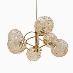 Mid-Century Deckenlampe mit Leuchten aus Bernsteingelbem Glas von Doria, 1960er