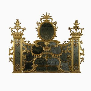 Antique Baroque Linden Carved and Gilded Hearth Mirror