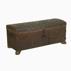 Antique Italian Wood & Leather Studded Chest
