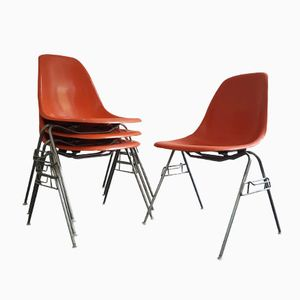 Vintage DSS Fiberglass Shell Chairs by Charles & Ray Eames for Herman Miller, Set of 4