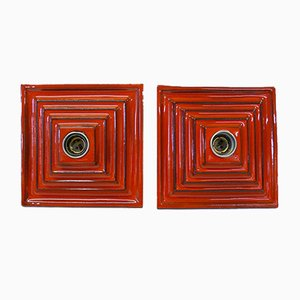 German Red Ceramic Wall Lights, Set of 2