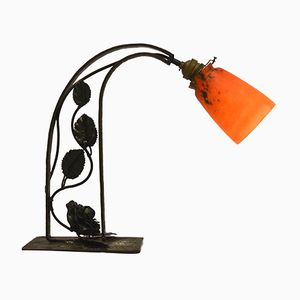 Wrought Iron & Glass Table Lamp from Charles Schneider, 1920s