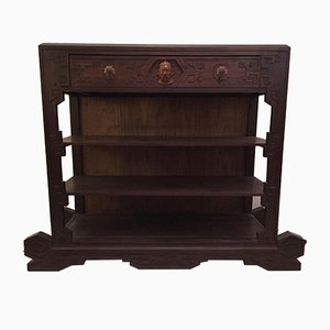 Dutch Colonial Iron, Wood, and Bronze Shelving Unit, 1920s