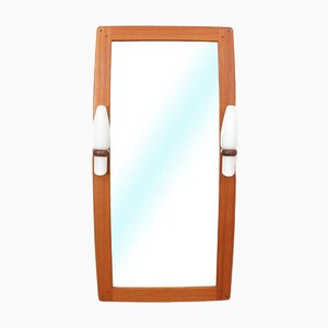 Mid-Century Modern Teak Mirror with Opaline Glass Lamps from AB Nybrofabriken, Fröseke, 1960s