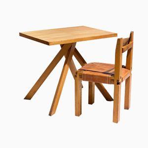 Französischer Vintage T27 Schreibtisch und S11 Stuhl von Pierre Chapo