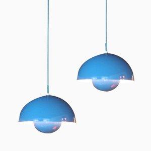 Moon lampe von verner panton f r louis poulsen 1960er bei for Blaue blumentopfe