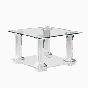Italian Lucite & Glass Side Table