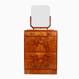 English Art Deco Walnut Dressing Table