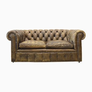 Vintage English Dark Brown Leather Chesterfield Two-Seater Sofa, 1950s