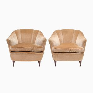 Art Deco Light Gold Velvet Club Chairs, 1940s, Set of 2