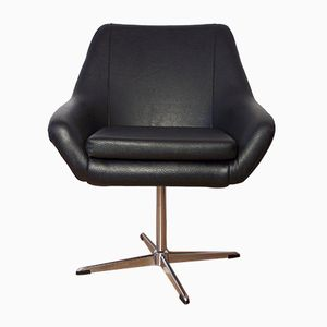 Vintage Black Shell Swivel Chair