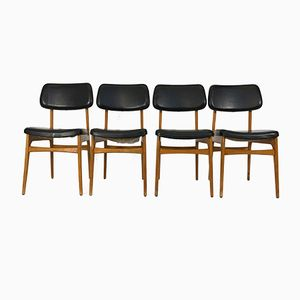 Vintage Wooden & Leatherette Dining Chairs, Set of 4