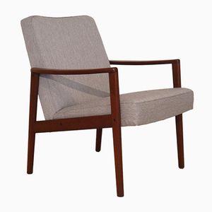 Scandinavian Teak & Grey Fabric Armchair, 1960s
