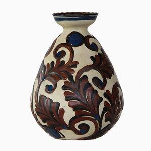 Glasierte Vintage Vase in Blau & Braun von Kähler