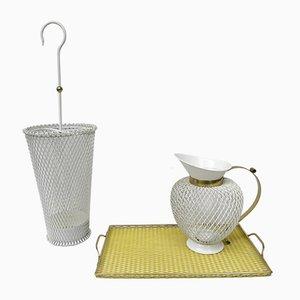 Gelber & Weißer Mid-Century Schirmständer, Tablett und Karaffe aus Metall & Messing