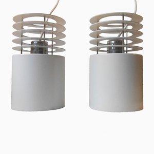 White Hydra 1 Minimalist Pendant Lamps by Jo Hammerborg for Fog & Morup, 1970s, Set of 2