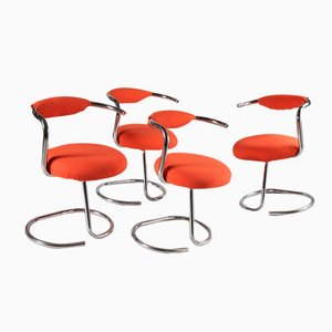 Orange Chairs by Giotto Stoppino, 1970s, Set of 4