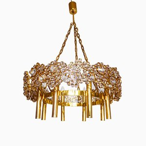 Large German Gilded Brass & Crystal Lamp Chandelier from Palwa, 1960s