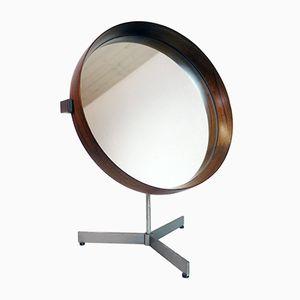 Table en Palissandre avec Dessus Miroir par Uno & Östen Kristiansson pour Luxus, Suède,1960s