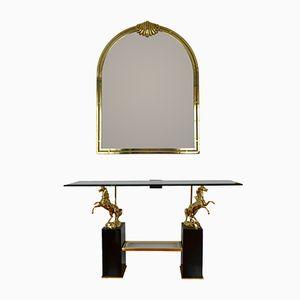 Italian Regency Style Crystal Glass Console & Brass Mirror, 1960s