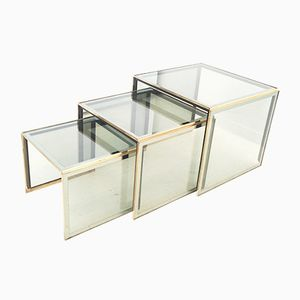Smoked Glass Nesting Tables, 1980s