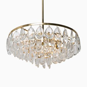 German Gilded Brass & Faceted Crystal Chandelier from Palwa, 1960s