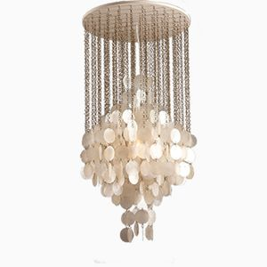 Mother of Pearl Chandelier by Verner Panton