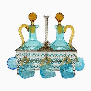 Antikes Französisches Cabaret Likörservice aus Handgeblasenem Glas von LeGras, 1890er