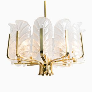 Swedish Large Glass Leaves Brass Chandelier by Carl Fagerlund for Orrefors, 1960s