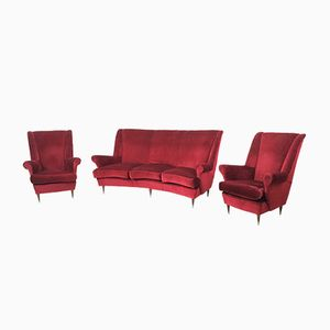Velvet Living Room Set, 1950s