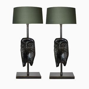 Bronze Owl Lamps, Set of 2