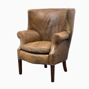 Leather Armchair with High Backrest, 1950s