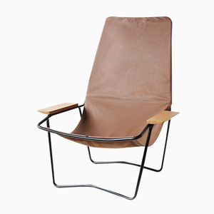 French Brown Leather Armchair, 1950s
