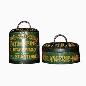 Antique Tole Ware Cake Tins, Set of 2