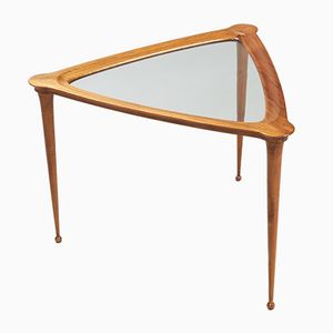 Italian Triangular Walnut Side Table