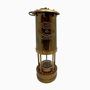 Vintage British Brass Miners Lamp from E. Thomas & Williams Wales, 1960s
