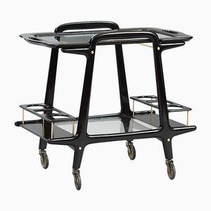Ebonized Wood & Glass Bar Cart by Cesare Lacca