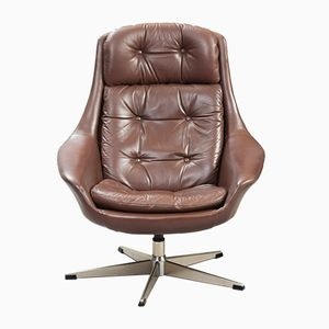 Leather Swivel Lounge Chair by Henry Walter Klein for Bramin