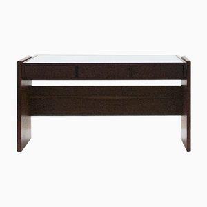 Rosewood and White Glass Top Desk by Joaquim Tenreiro, 1960s